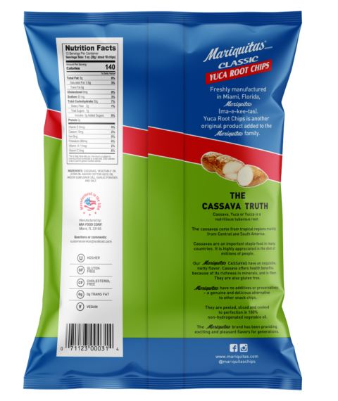 Mariquitas Yuca Root Garlic Chips packaging back side