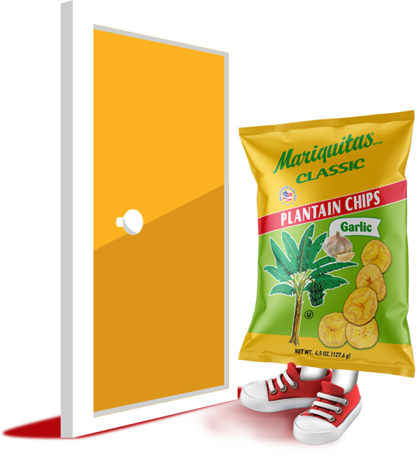 Mariquitas classic bag caricature wearing red sneakers standing next to a yellow cartoon door