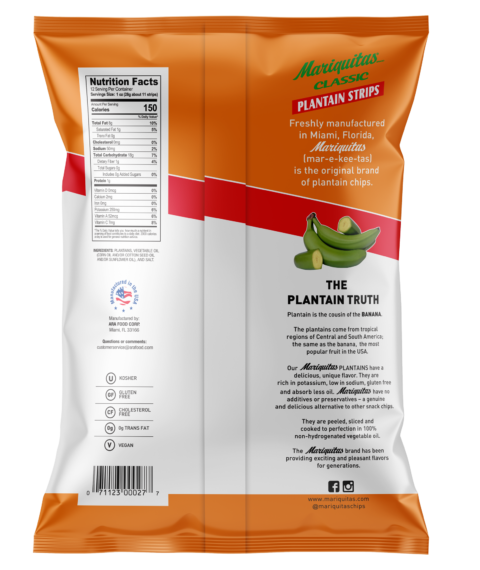 Mariquitas Plantain Strips packaging back side
