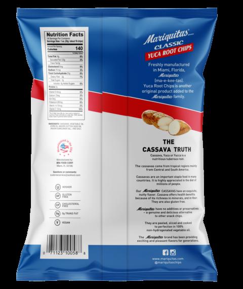 Mariquitas Yuca Root Chips packaging back side
